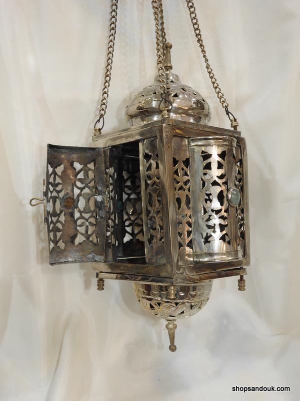 Ceiling Lantern 42x21 centimetre 450 gram Brass plated silver