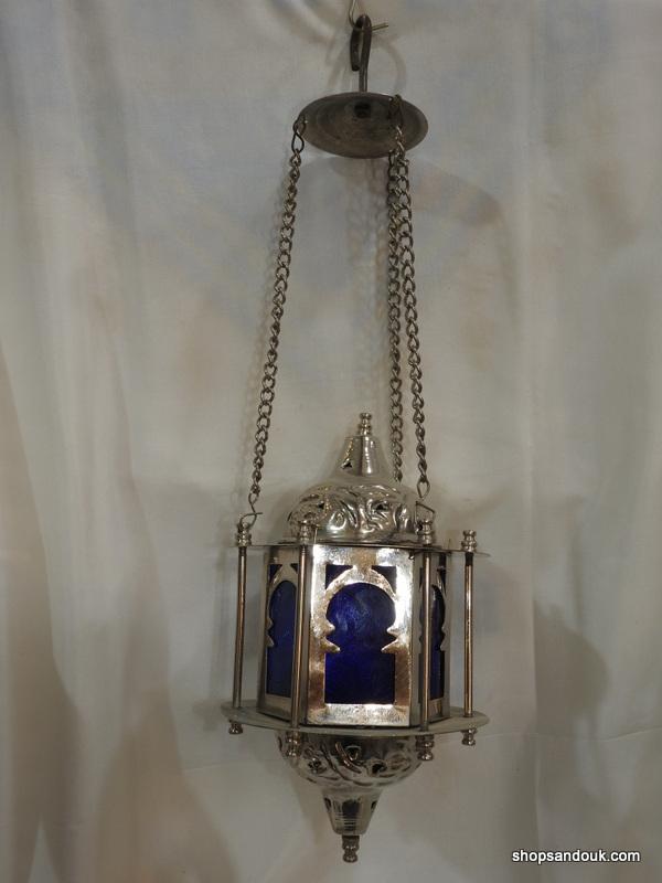 Ceiling Lantern 27x14 centimetre 650 gram Brass plated silver