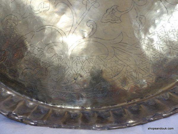 Large Tray 82 centimetre 5500 grams Brass Oriental Motive Hand Carved Vintage