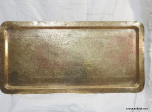 Large Tray 100x50 centimetre 5100 grams brass Oriental Motive Calligraphy Hand Carved Vintage. 80 years old, could be more.