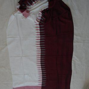 Shawls 195x75 centimetre Pure Cotton white red