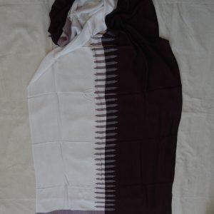 Shawls 195x75 centimetre Pure Cotton White and Maroon