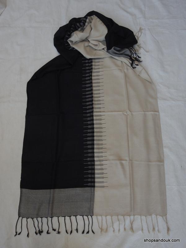 Shawls 220x80 centimetre Pure Cotton Black and Beige