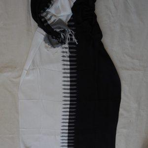 Shawls 195x75 centimetre Pure Cotton White and Black